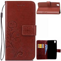 Embossing Imprint Four-Leaf Clover Leather Wallet Case for Sony Xperia L1 - Brown