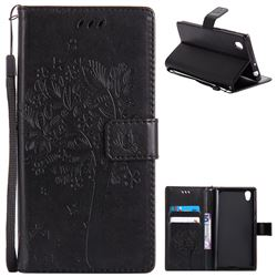 Embossing Butterfly Tree Leather Wallet Case for Sony Xperia L1 / Sony E6 - Black