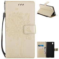 Embossing Butterfly Tree Leather Wallet Case for Sony Xperia L1 / Sony E6 - Champagne