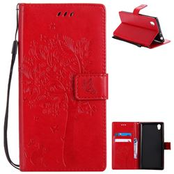 Embossing Butterfly Tree Leather Wallet Case for Sony Xperia L1 / Sony E6 - Red