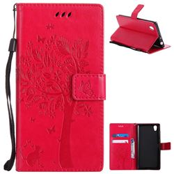 Embossing Butterfly Tree Leather Wallet Case for Sony Xperia L1 / Sony E6 - Rose