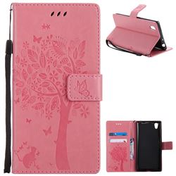 Embossing Butterfly Tree Leather Wallet Case for Sony Xperia L1 / Sony E6 - Pink