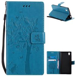 Embossing Butterfly Tree Leather Wallet Case for Sony Xperia L1 / Sony E6 - Blue