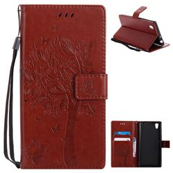Embossing Butterfly Tree Leather Wallet Case for Sony Xperia L1 / Sony E6 - Brown