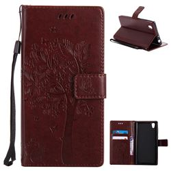 Embossing Butterfly Tree Leather Wallet Case for Sony Xperia L1 / Sony E6 - Coffee