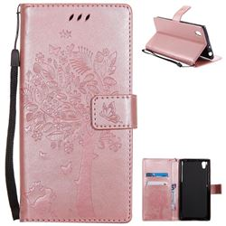 Embossing Butterfly Tree Leather Wallet Case for Sony Xperia L1 / Sony E6 - Rose Pink