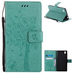 Embossing Butterfly Tree Leather Wallet Case for Sony Xperia L1 / Sony E6 - Cyan