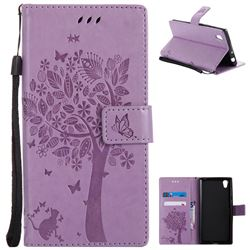 Embossing Butterfly Tree Leather Wallet Case for Sony Xperia L1 / Sony E6 - Violet