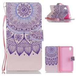 Purple Sunflower Leather Wallet Phone Case for Sony Xperia L1 / Sony E6