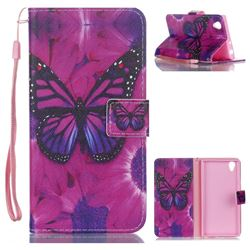 Black Butterfly Leather Wallet Phone Case for Sony Xperia L1 / Sony E6