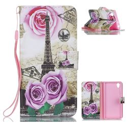 Rose Eiffel Tower Leather Wallet Phone Case for Sony Xperia L1 / Sony E6