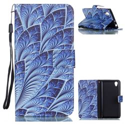 Blue Feather Leather Wallet Phone Case for Sony Xperia L1 / Sony E6
