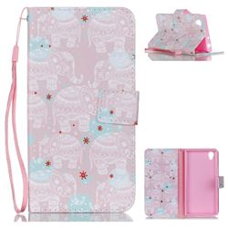 Pink Elephant Leather Wallet Phone Case for Sony Xperia L1 / Sony E6