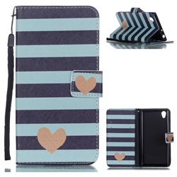 Blue Stripe Heart Leather Wallet Phone Case for Sony Xperia L1 / Sony E6