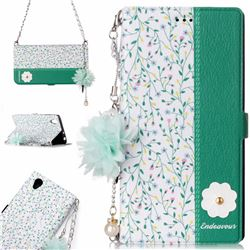 Magnolia Endeavour Florid Pearl Flower Pendant Metal Strap PU Leather Wallet Case for Sony Xperia L1 / Sony E6