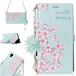 Cherry Blossoms Endeavour Florid Pearl Flower Pendant Metal Strap PU Leather Wallet Case for Sony Xperia L1 / Sony E6