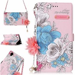 Pink Blue Rose Endeavour Florid Pearl Flower Pendant Metal Strap PU Leather Wallet Case for Sony Xperia L1 / Sony E6