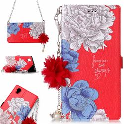 Red Chrysanthemum Endeavour Florid Pearl Flower Pendant Metal Strap PU Leather Wallet Case for Sony Xperia L1 / Sony E6