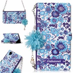 Blue-and-White Endeavour Florid Pearl Flower Pendant Metal Strap PU Leather Wallet Case for Sony Xperia L1 / Sony E6