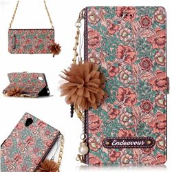 Impatiens Endeavour Florid Pearl Flower Pendant Metal Strap PU Leather Wallet Case for Sony Xperia L1 / Sony E6