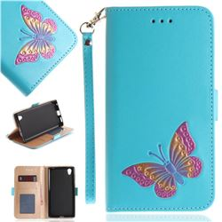 Imprint Embossing Butterfly Leather Wallet Case for Sony Xperia L1 / Sony E6 - Sky Blue