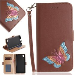 Imprint Embossing Butterfly Leather Wallet Case for Sony Xperia L1 / Sony E6 - Brown