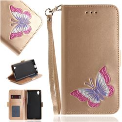 Imprint Embossing Butterfly Leather Wallet Case for Sony Xperia L1 / Sony E6 - Golden