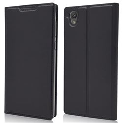 Ultra Slim Card Magnetic Automatic Suction Leather Wallet Case for Sony Xperia L1 / Sony E6 - Star Grey