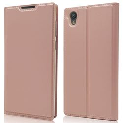 Ultra Slim Card Magnetic Automatic Suction Leather Wallet Case for Sony Xperia L1 / Sony E6 - Rose Gold