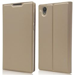 Ultra Slim Card Magnetic Automatic Suction Leather Wallet Case for Sony Xperia L1 / Sony E6 - Champagne