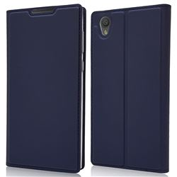 Ultra Slim Card Magnetic Automatic Suction Leather Wallet Case for Sony Xperia L1 / Sony E6 - Royal Blue