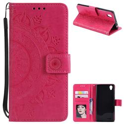 Intricate Embossing Datura Leather Wallet Case for Sony Xperia L1 / Sony E6 - Rose Red