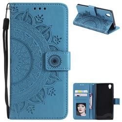 Intricate Embossing Datura Leather Wallet Case for Sony Xperia L1 / Sony E6 - Blue