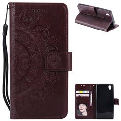 Intricate Embossing Datura Leather Wallet Case for Sony Xperia L1 / Sony E6 - Brown