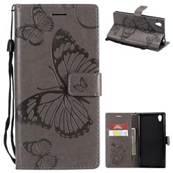 Embossing 3D Butterfly Leather Wallet Case for Sony Xperia L1 / Sony E6 - Gray