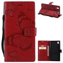Embossing 3D Butterfly Leather Wallet Case for Sony Xperia L1 / Sony E6 - Red