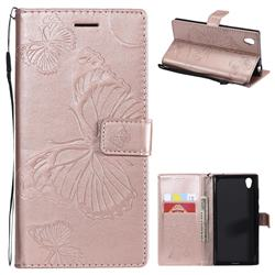 Embossing 3D Butterfly Leather Wallet Case for Sony Xperia L1 / Sony E6 - Rose Gold