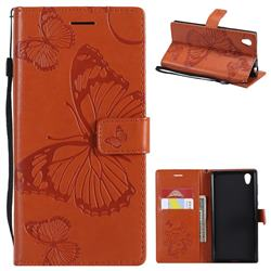 Embossing 3D Butterfly Leather Wallet Case for Sony Xperia L1 / Sony E6 - Orange