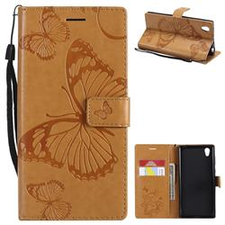 Embossing 3D Butterfly Leather Wallet Case for Sony Xperia L1 / Sony E6 - Yellow