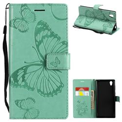 Embossing 3D Butterfly Leather Wallet Case for Sony Xperia L1 / Sony E6 - Green