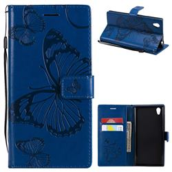 Embossing 3D Butterfly Leather Wallet Case for Sony Xperia L1 / Sony E6 - Blue