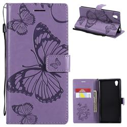 Embossing 3D Butterfly Leather Wallet Case for Sony Xperia L1 / Sony E6 - Purple