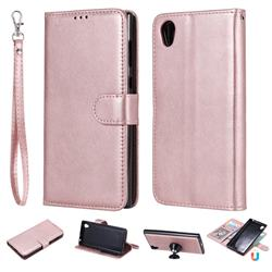 Retro Greek Detachable Magnetic PU Leather Wallet Phone Case for Sony Xperia L1 / Sony E6 - Rose Gold
