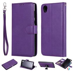 Retro Greek Detachable Magnetic PU Leather Wallet Phone Case for Sony Xperia L1 / Sony E6 - Purple