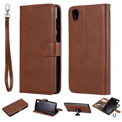 Retro Greek Detachable Magnetic PU Leather Wallet Phone Case for Sony Xperia L1 / Sony E6 - Brown