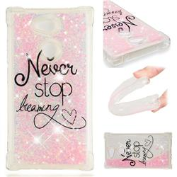 Never Stop Dreaming Dynamic Liquid Glitter Sand Quicksand Star TPU Case for Sony Xperia L2