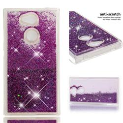 Dynamic Liquid Glitter Quicksand Sequins TPU Phone Case for Sony Xperia L2 - Purple