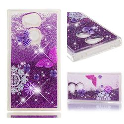 Purple Flower Butterfly Dynamic Liquid Glitter Quicksand Soft TPU Case for Sony Xperia L2