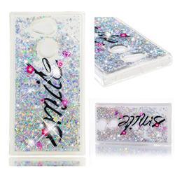 Smile Flower Dynamic Liquid Glitter Quicksand Soft TPU Case for Sony Xperia L2