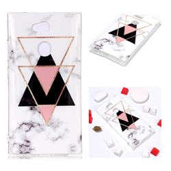Inverted Triangle Black Soft TPU Marble Pattern Phone Case for Sony Xperia L2